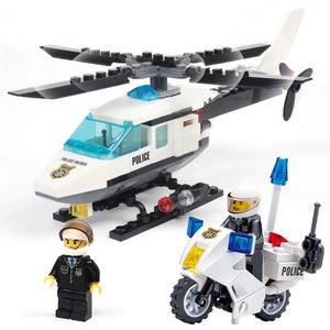 Helicopter motorcycle block toys