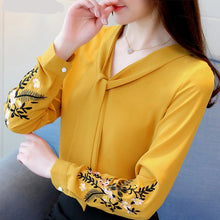 Load image into Gallery viewer, Women's blusas long sleeve embroidery