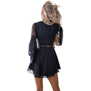 Mini criss cross lace dress