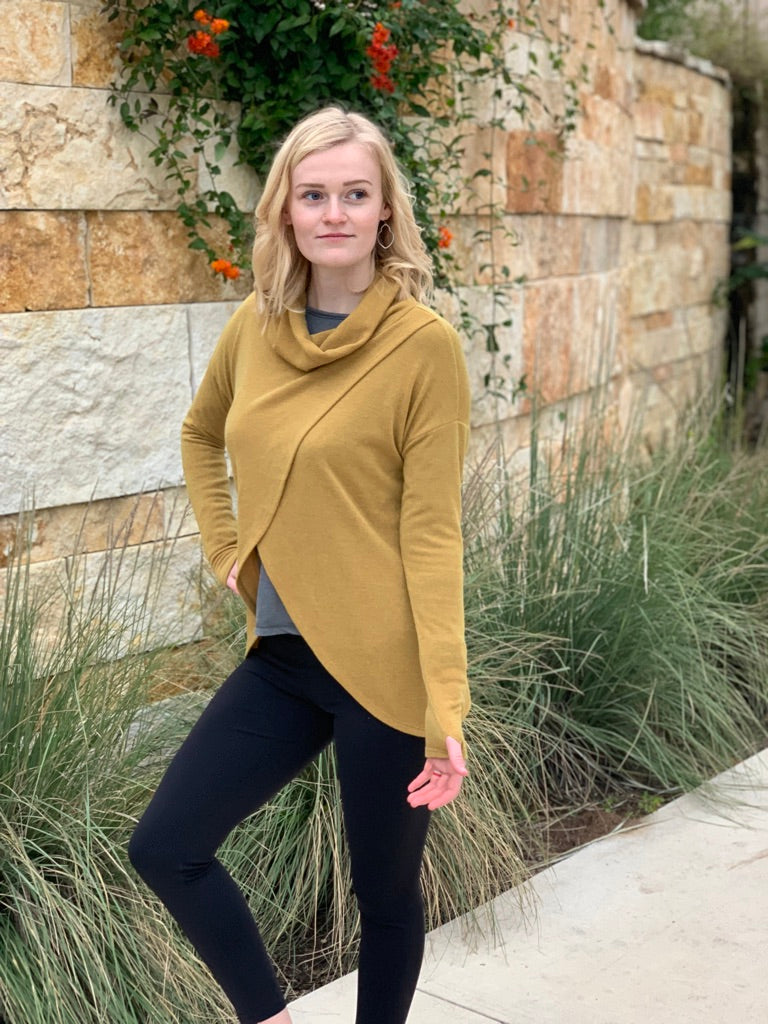 Cowl Neck Split Front Sweater