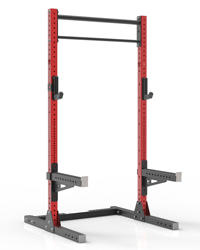 fully-equipped red coated high quality squat rack