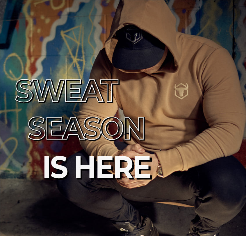 man wearing iron bull strength sports hoodies and joggers mobile
