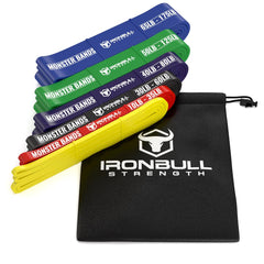 6-bands-set pull up resistance bands displayed together with their bag