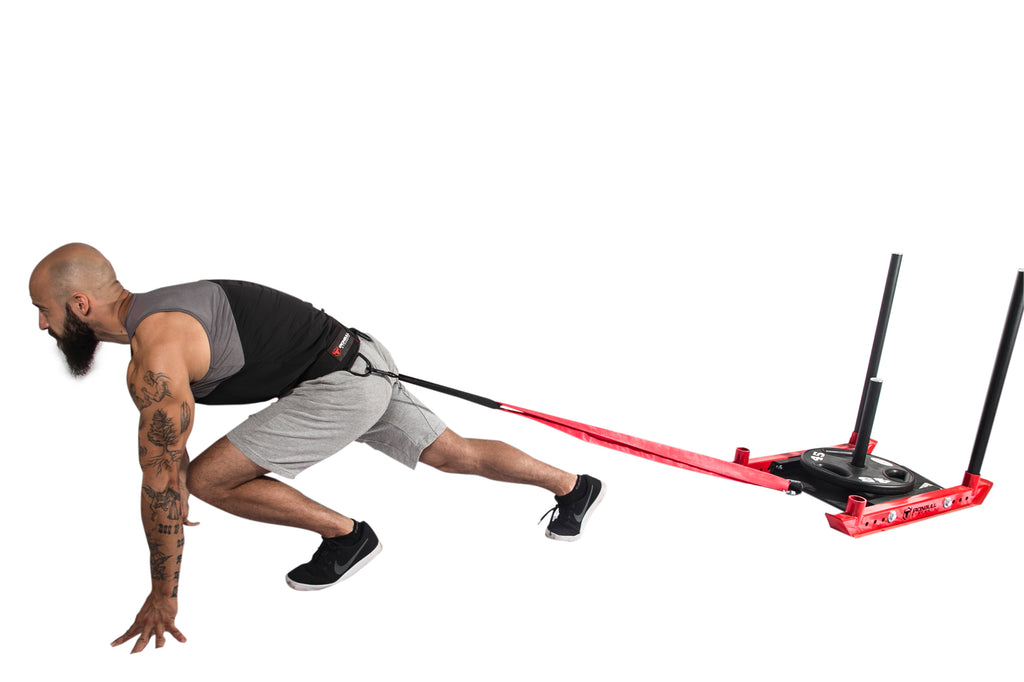 advanced crossfit sled exercise with weight belt