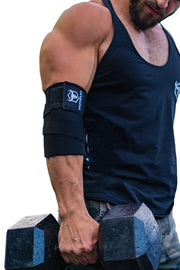 black iron bull strength elbow wraps for free weights