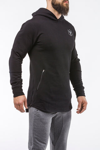 black pullover hoodie with zip iron bull strength