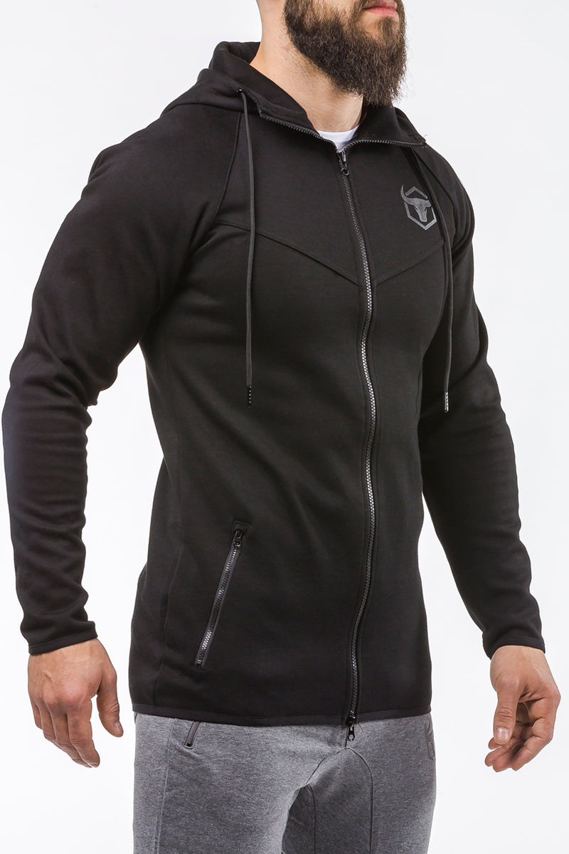 black zip up sports hoodie iron bull strength