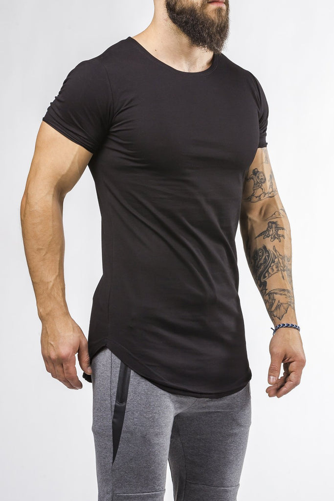 black workout t-shirt o-neck comfortable shirt