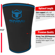 black-blue iron bull strength 7mm knee sleeves features
