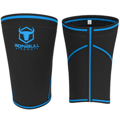 black-blue iron bull strength 7mm knee sleeves front and back