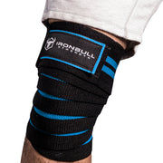 black-cyan iron bull strength knee support wraps