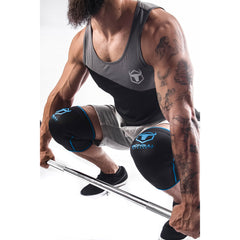 black-blue knee sleeves used for deadlift