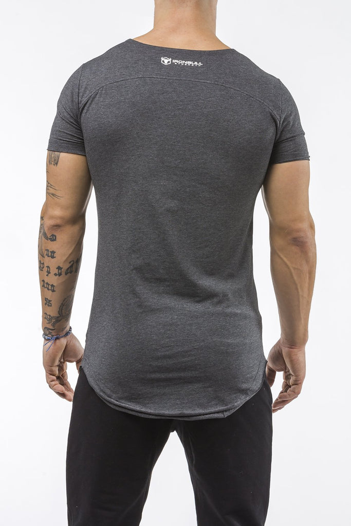 charcoal gym t-shirt scoop neck stretch cotton