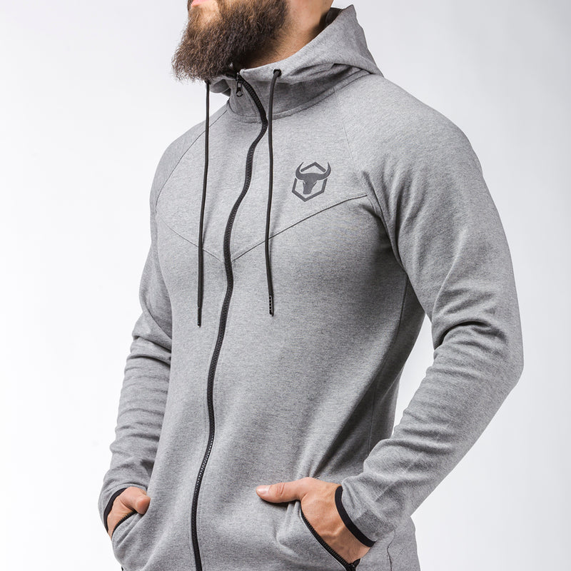 gray long sleeves zip up hoodie with zip pockets