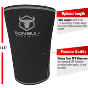 black-gray iron bull strength 7mm knee sleeves features