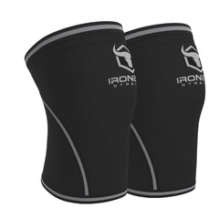 black-gray iron bull strength 7mm knee sleeves side view