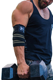 black-gray iron bull strength elbow wraps for free weights