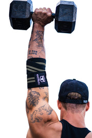 black-gray elbow wraps for shoulder press