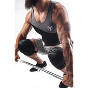 black-gray knee sleeves used for deadlift
