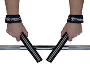 black-gray lifting straps improves your grip on barbell