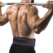 gray squat and deadlift belt iron bull strength