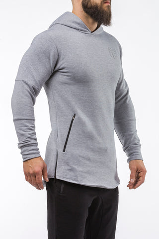 gray pullover hoodie with zip iron bull strength