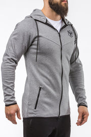 gray zip up sports hoodie iron bull strength