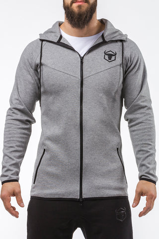 gray all seasons good looking zip up hoodie muscle fit
