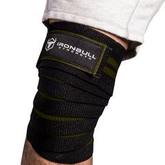 black-army-green  iron bull strength knee support wraps