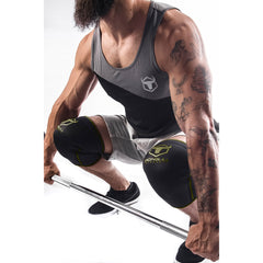 black-army-green knee sleeves used for deadlift