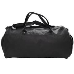 black gym duffle bag back view