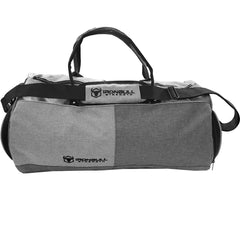 gray gym duffle bag front view