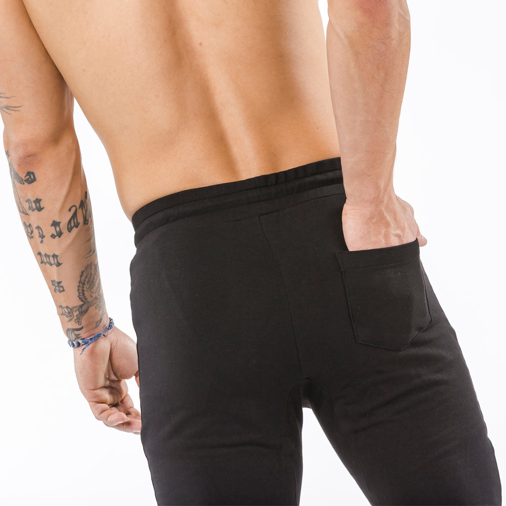 black tapered fit joggers classic zip back pocket