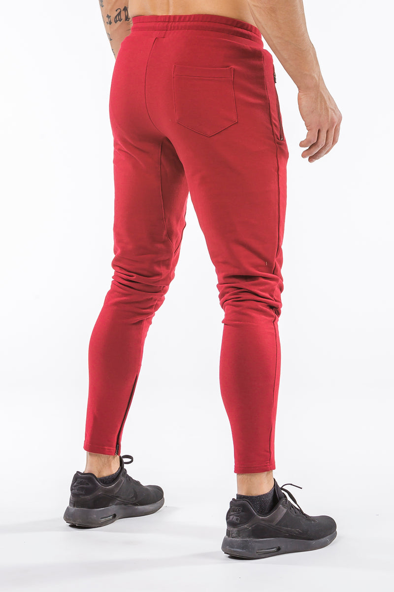 burgundy men track pants classic zip tight fit