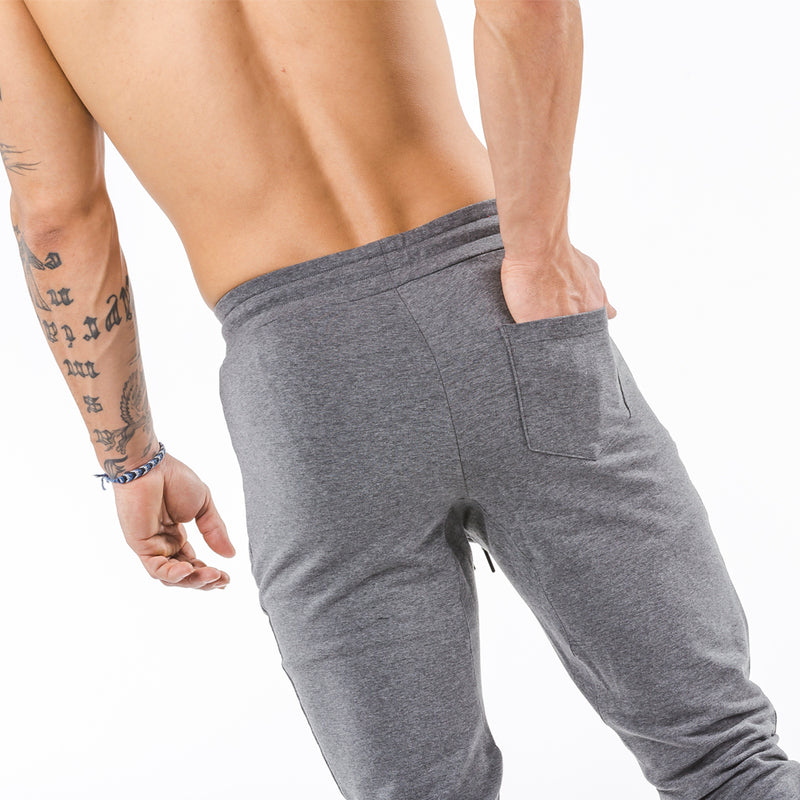 gray tapered fit joggers classic zip back pocket