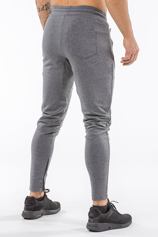 gray men track pants classic zip tight fit