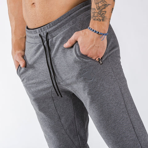 gray iron bull strength joggers classic zip front pockets