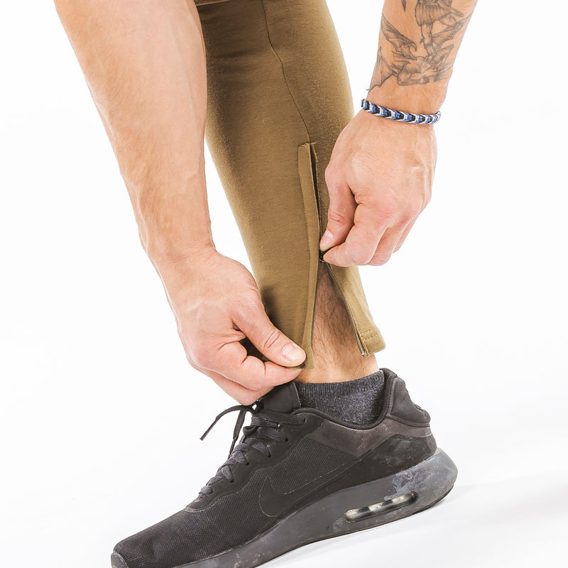 khaki iron bull strength zip pockets joggers ankle zip feature