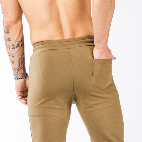 khaki tapered fit joggers classic zip back pocket