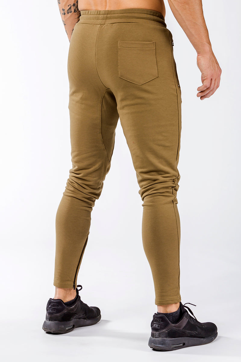 khaki men track pants classic zip tight fit