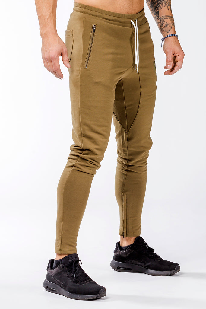 khaki iron bull strength men joggers classic zip pockets
