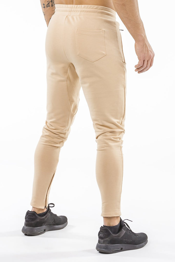 tan men track pants classic zip tight fit