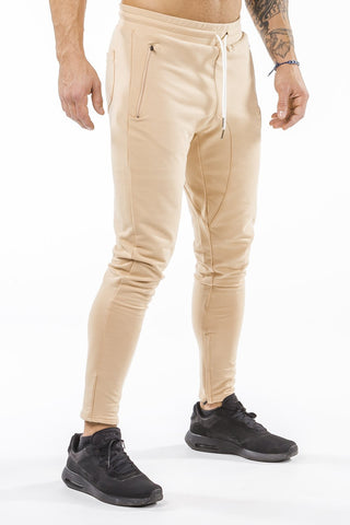 tan iron bull strength men joggers classic zip pockets