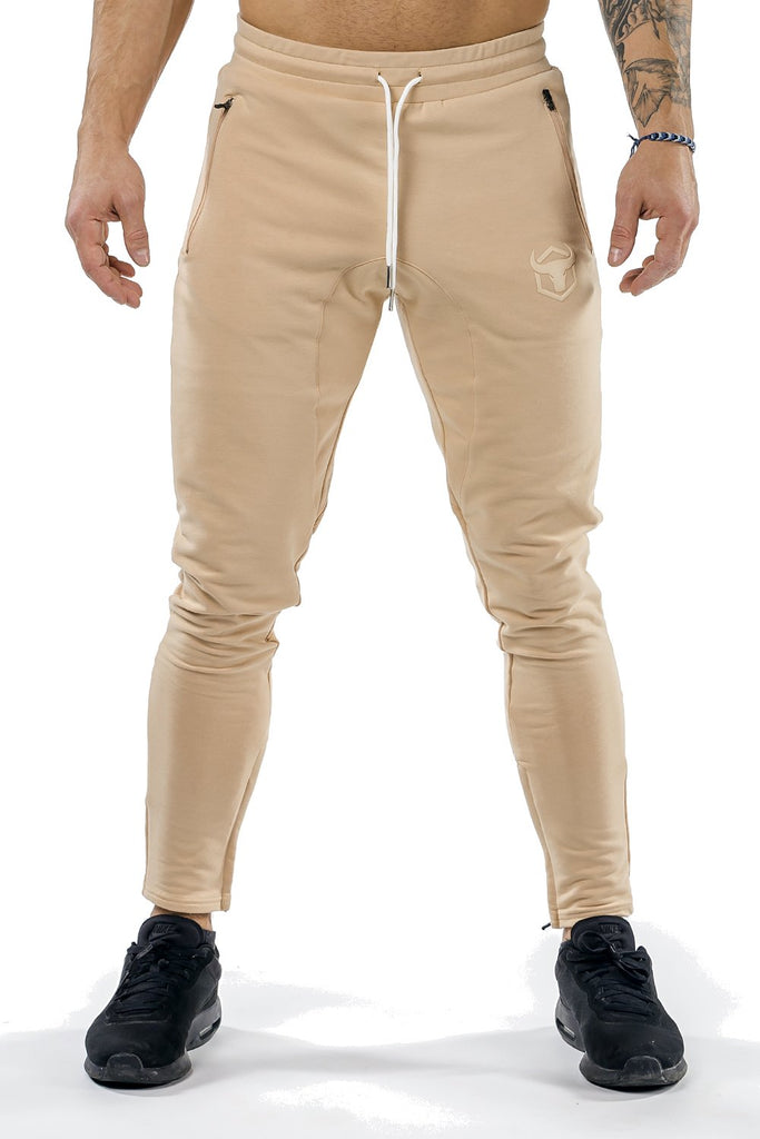 tan men joggers classic zip front with lace