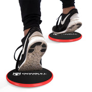black-red advanced gliding discs under shoes
