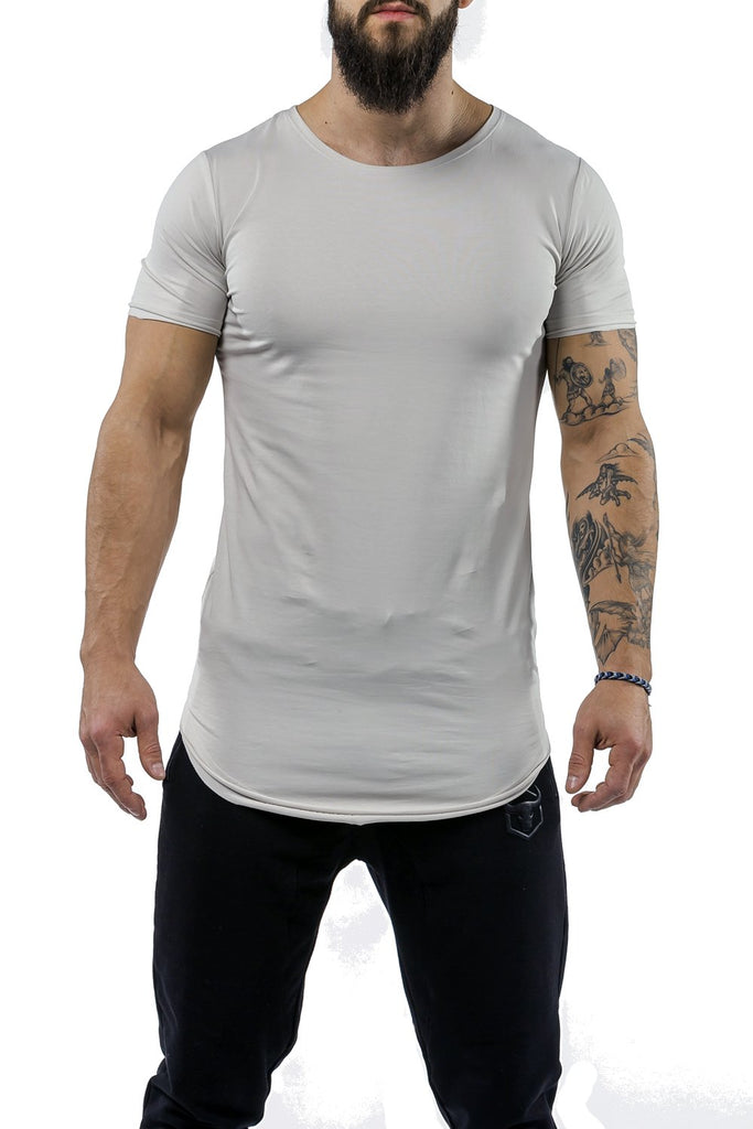 light-gray workout t-shirt scoop neck casual wear