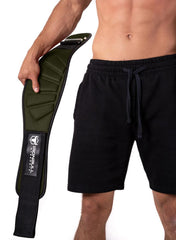 army-green model putting on back support lifting belt