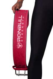 pink powerlifting belt waist fit iron bull strength