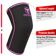 black-pink iron bull strength 5mm elbow sleeve features