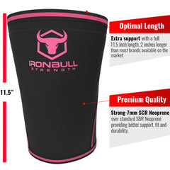 black-pink iron bull strength 7mm knee sleeves features